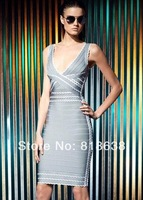 grey and white V-neck Sleeveless Tipped scalloped-edge trim  Crisscross-strap hl  bandage dresses 2014 new arrival black .red