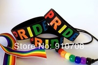 "Gay Pride Wristband, homosex Silicon Bracelet, 1"" Wide Band, Debossed Logo, Rainbow Colour, Adult Size,  3pcs/Lot, Free Shipping"