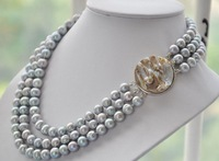 triple strands AAA 10-11MM tahitian silver gray pearl necklace 17-19""