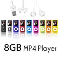 1PCS 8GB Slim Mp3 Mp4 Player 9Colors 1.8 LCD Screen  4rd FM Radio Video  Free shipping+USB+earphone