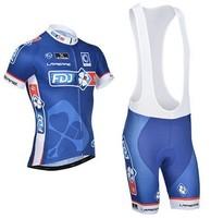 High quality! 2014 FDJ cycling jersey bike short sleeve and bicicleta bib shorts/ ciclismo clothing set SA#554