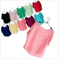 New batwing chiffon t-shirt blouse fashion women plus loose size short-sleeve t-shirt candy color pullover bouse top tee