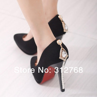 Hot Sale 2014 Spring New Fashion Style diamond Sexy Pointed Toe Women Pumps Flock 11cm High Heels Ladies' Party Dress Shoes