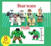 Classci Toys Star wars  Avengers Hulk Aliens Assembly Plastic toy Action figure Block dolls Best children's Day Gift Free Ship