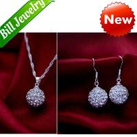 Free Shipping Wholesale lots 18K Gold Plated Crystal Necklace Set Fashion Shambhala Ball Necklace Earrings Bridal Jewelry Sets