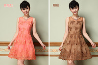 The European and American high-end heavy embroidery embroidery elegant nobility sleeveless dresses