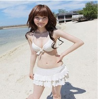 New in 2014 Korean bikini sexy women swimwear hot spring for fashion vintage set waist / princess S M L white black BIG 17