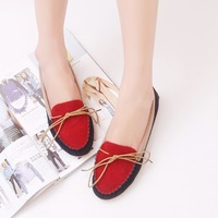 2013 spring and autumn flat heel single shoes gommini loafers bow female pans shoes round toe flat four seasons