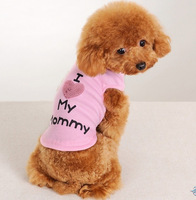 Free shiiping / 2color /New dog vest with the word I love mommy/daddy, S,M,L,XL,XXL Dog Clothing / Wholesale