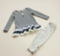 ST4001   free shipping  girls striped  long sleeve t-shirt  and  legging pants 2 pcs sets  6pcs/lot