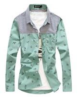 Free shipping!  fashion splice  stripe men slim long sleeve shirts, casual  men's long sleeve shirts,