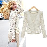 2014 New Women Blazer, Top Coat Sexy Sheer Lace Blazer Lady Suit Outwear, Women Ol,Black White Blazer Lace Long Sleeves