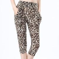 nz330 Free Shopping1pcs fashion Ladies' plus size Han edition wide-legged pants/yellow leopard ice silk haroun pants