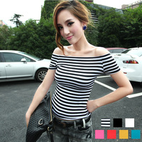 Slim sexy slit neckline strapless top stripe short-sleeve t-shirt female autumn and winter solid color basic shirt
