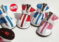 (4pcs/lot each leg one piece) High Quality Pet Dog Shoes Zipper + Ribbon Design PU Leather Material Red + Blue + Pink