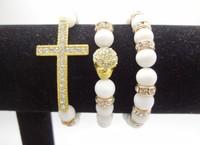 NEW Bling Hoops White Gold Rhinestone Cross Skull Crystal 8mm White natural stone Bracelet Beads