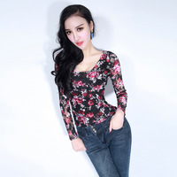 Flower lace long-sleeve basic shirt gauze perspective sexy o-neck slim spring basic shirt women's t-shirt