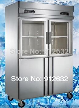Kommerziellen gefrierschrank vertikale, doppeltür, edelstahl und glastür kühlschrank mit gefrierfach