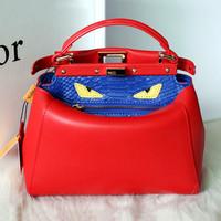 Fashion F Brand Mini Peekaboo Celebrity Models Genuine Leather Laptop Little Kitty Shoulder Crossbody bag Solid Color/Crocodile