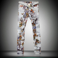 Hot sale 2014 Painted Leopard Jeans Colored drawing Flower Male Slim Pants Men's Cool Print Denim Trousers Free shipping
