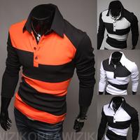 2014Free shippingTrend long-sleeve color block decoration slim polo shirt   sizeM-XXXL