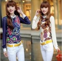 Free shipping! 2014 spring vintage print slim gem shirt chiffon long-sleeve blouse