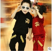 Spring New 2014 Children Clothing Set Fashion Casual Sport Mesh Gauze Girls And Boys Set Children Hoodies 2-7 Years
