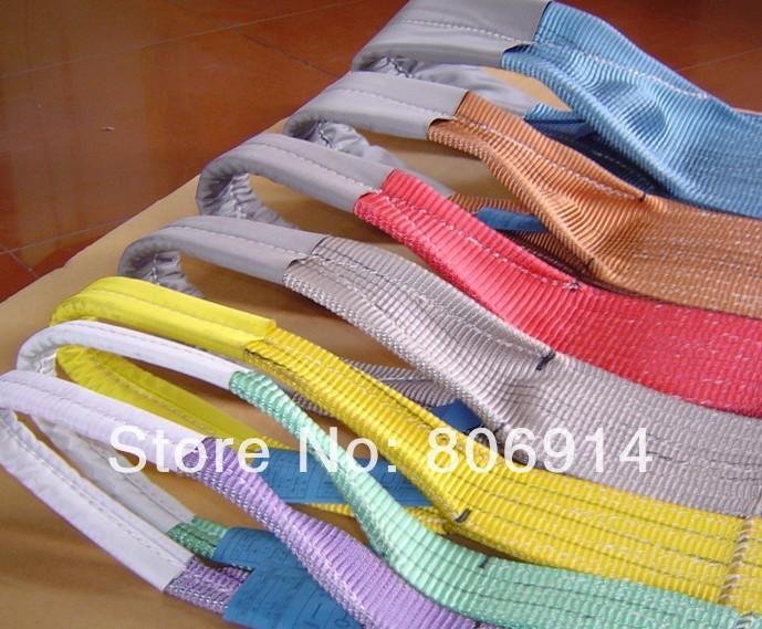 Free shipping 30pcs/lot 2T x 1M eye-eye high tensile polyester flat lifting sling lifting strap webbing sling(China (Mainland))