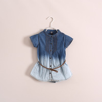 2014 New  Fashion  girl  denim dress   children clothes   very good quality  have age 2 - 8