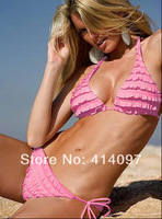 Freeshipping 2014 Fashion Brand woman Sexy Lingerie Bikini Hot swimsuits Ladies swimwear beachwear Beige /Pink