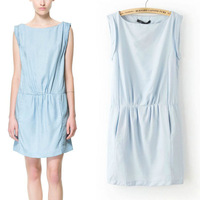 Spring 2014 New Fashion Sleeveless Round Collar Solid Light Blue Above-kength Mini Dress for Women with Pocket Free Shipping