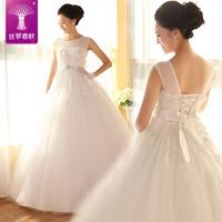 2014 new sweet wedding dress /slit neckline wedding dress/ puff dress
