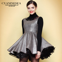 winter women's 2014 sweet elegant princess dress expansion tank bottom sleeveless vest one-piece dress