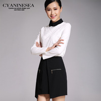 2014 spring professional set elegant peter pan collar twinset half-skirt small top casual set female