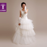 2014 new wedding dress/ one shoulder strap waist dress/ princess wedding dress