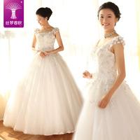 2014 new wedding dress/Slit neckline princess bride dress/sexy lace flower dress/ puff wedding dress