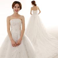 2014 new arrival luxurious diamond dress/royal tube top wedding dress/ luxury long trailing wedding dress/