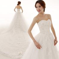 2014 new arrival luxury royal wedding dress/ bow tube top luxury 2 meters long trailing dress