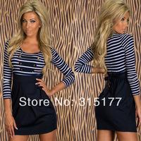 Free shipping Classic Long-sleeved Sailor Striped Mini Dress Club Dress Wholesale 10pcs/lot  2014 Dress New Fashion 21042