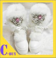 2013Hot sale 2color Snow Boots Diamond gem rabbit hair female boots woman's boots 348