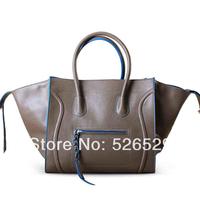 Free Shipping smiley bag genuine leather handbag quality big large bag female lady fashion shoulder messenger bat bags for women