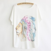 [Magic] New 2014 Spring and summer style thin plus size loose batwing sleeve women's T-shirt Cartoon lion print Top Tees