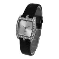 Free Shipping new arrival high quality japan movt women's leather Rhinestone watch ladies Tonneau fashion quartz wrist watch