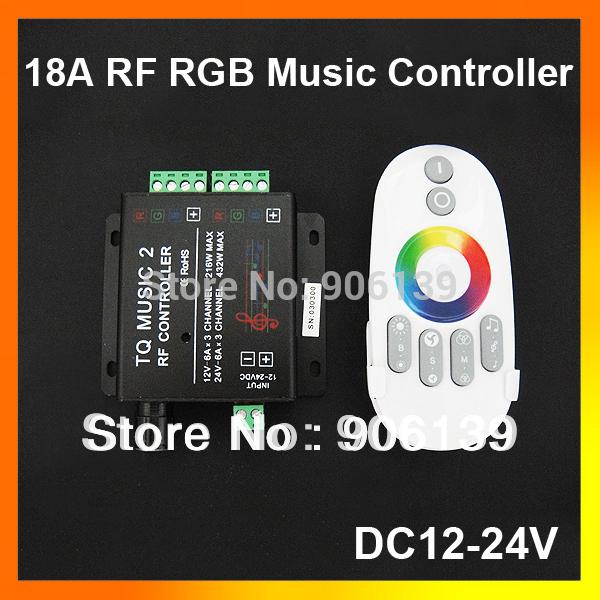Wholesale DC12V 24V 18A 2CH RGB RF Music Sound led Remote controller for strip light(China (Mainland))