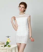 2014 new runway spring and summer fashion sexy slim beading diamond patchwork embroidery one piece dress S,M,L