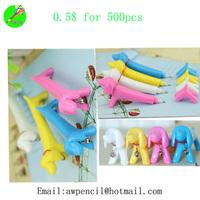 Offer lovely plastic dog shape ballpen Min order 500pcs