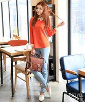 Free shipping,2014 New,women fashion temperament cute long sleeve Top shirts,Ladies elegant  fashion loose Blouses,Orange,Blue