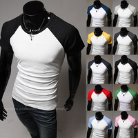 2014 New Men Shirt 2014 fashion men short-sleeve slim t-shirt 1020