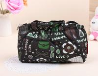 Free shipping Korean version new fashion high quality black Denim cartoon ruffles shopping handbag ladies storage cosmetic bags