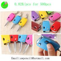 Offer lovely plastic car key chain shape ballpen Min order 500pcs